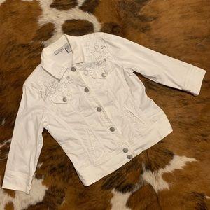 Chico's Embroidered White Denim Jacket